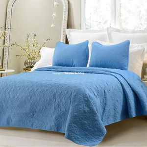 NEW 3pc Blue Quilted Cotton Queen Coverlet Sets